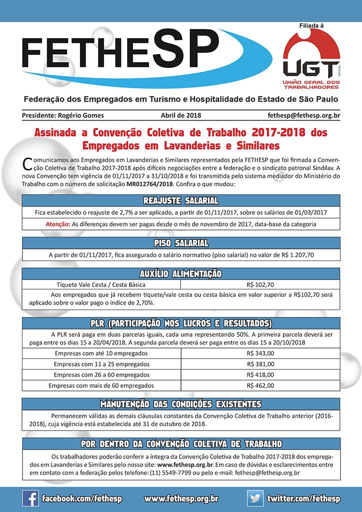 FETHESP - Convenção Coletiva 2017 - Empregados em Lavanderias e Similares