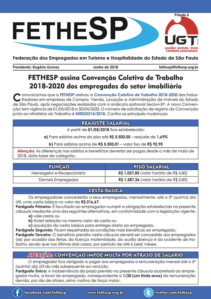 FETHESP - Convenção Coletiva 2018 - Empregados em Compra, Venda, Locação e Administração de Imóveis