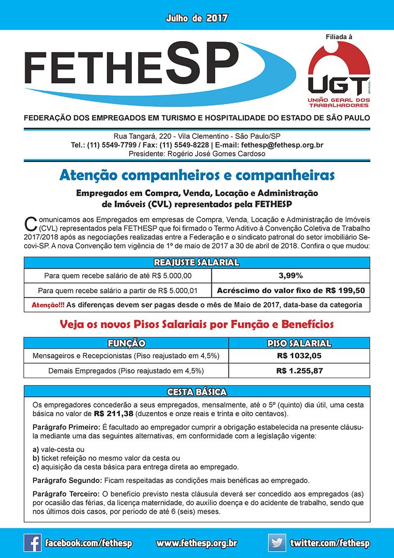 Informativo FETHESP - Empregados em Compra, Venda, Locação e Administração de Imóveis 2017