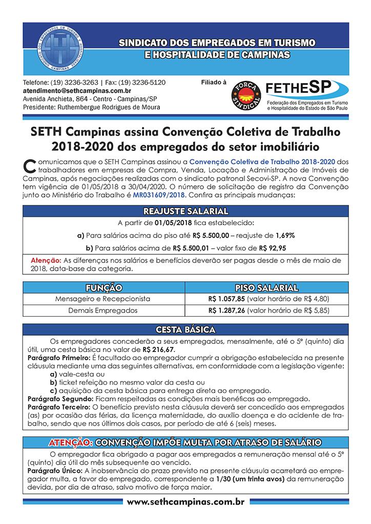 SETH Campinas - Convenção Coletiva 2018 - Empregados em Compra, Venda, Locação e Administração de Imóveis