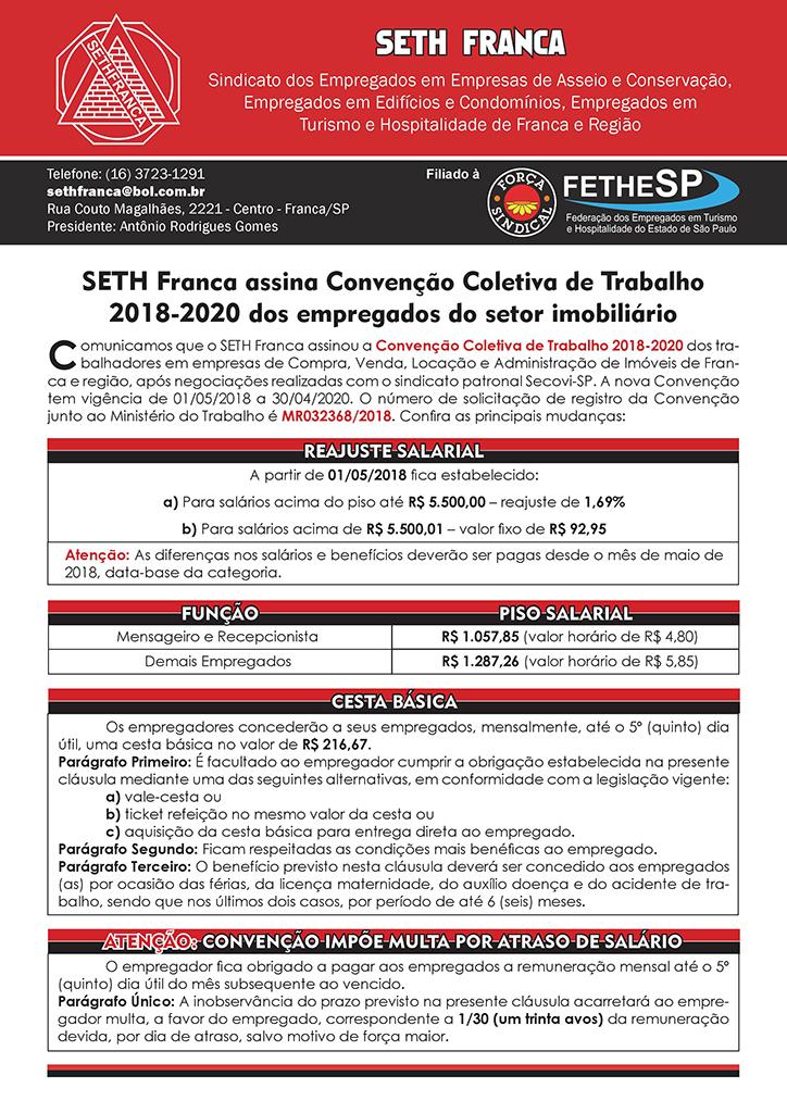 SETH Franca - Convenção Coletiva 2018 - Empregados em Compra, Venda, Locação e Administração de Imóveis