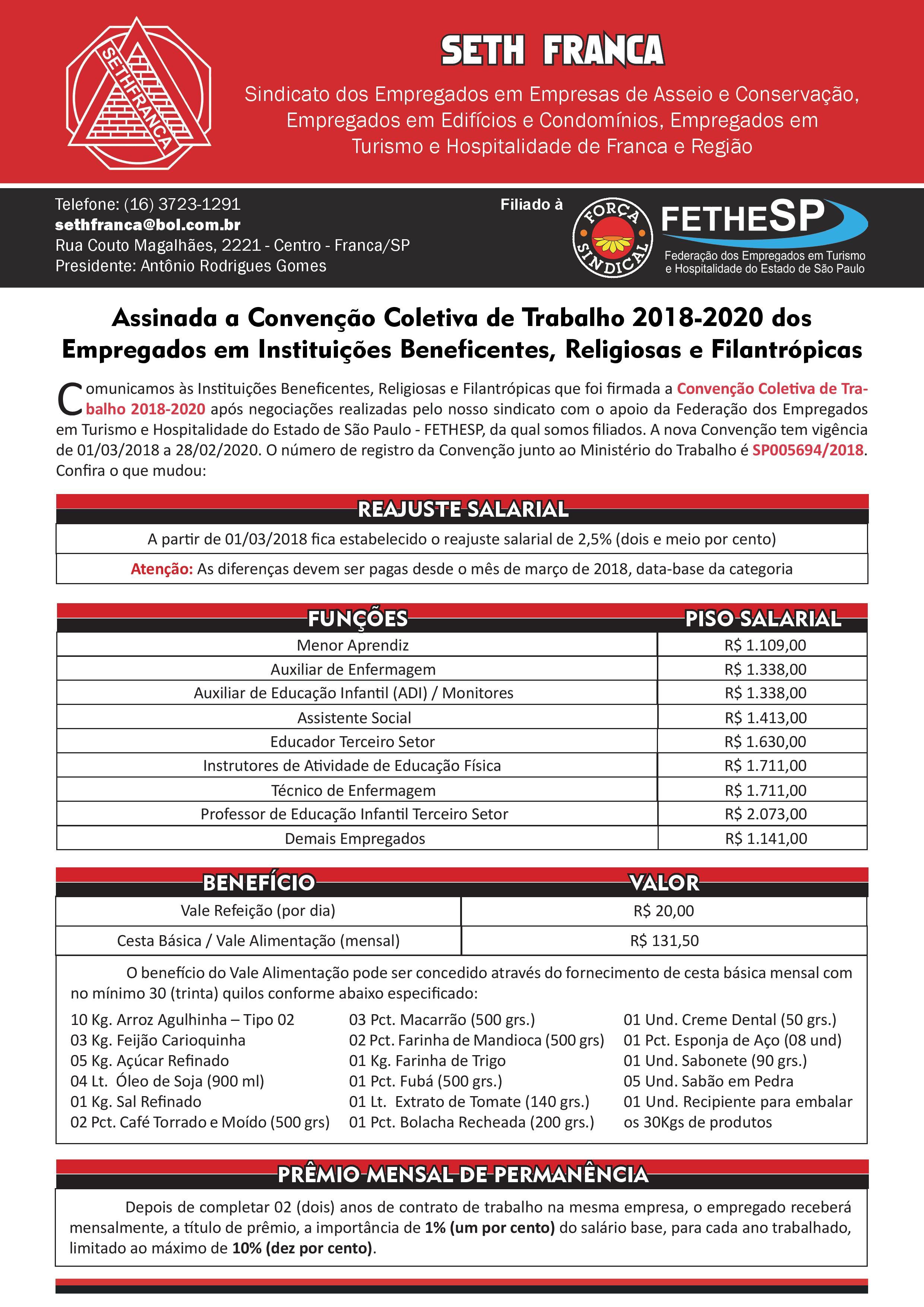 SETH Franca - Convenção Coletiva 2018 - Empregados em Instituições Beneficentes, Religiosas e Filantrópicas