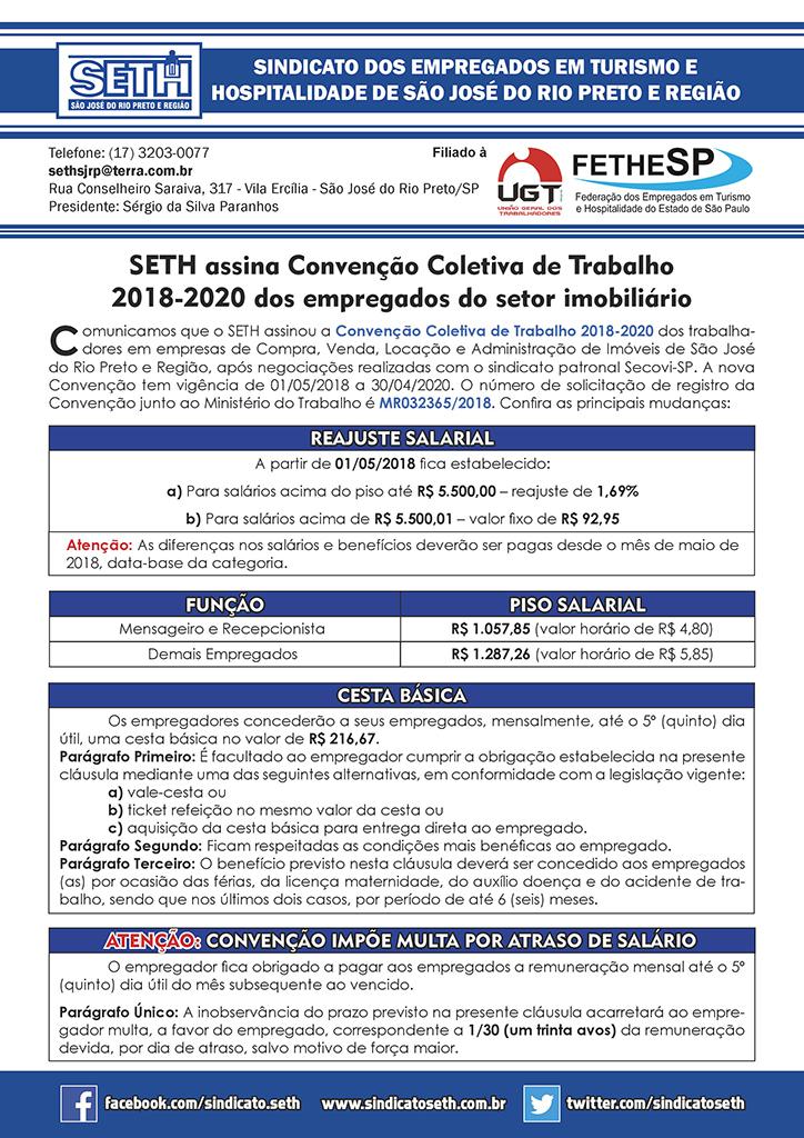 SETH São José do Rio Preto - Convenção Coletiva 2018 - Empregados em Compra, Venda, Locação e Administração de Imóveis