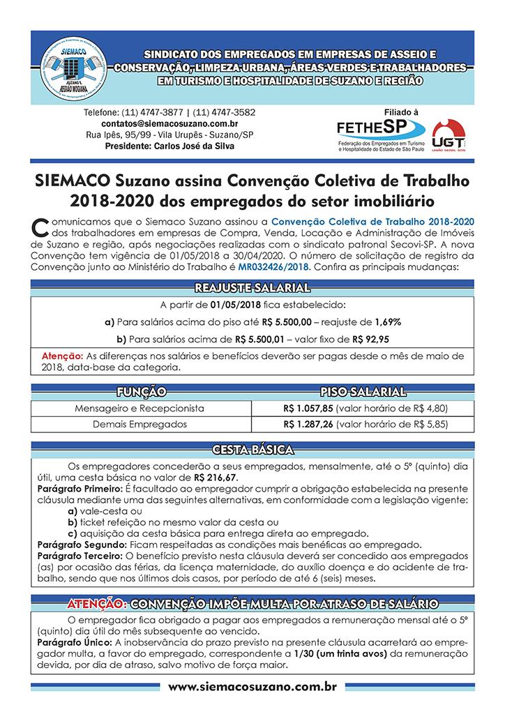 Siemaco Suzano - Convenção Coletiva 2018 - Empregados em Compra, Venda, Locação e Administração de Imóveis