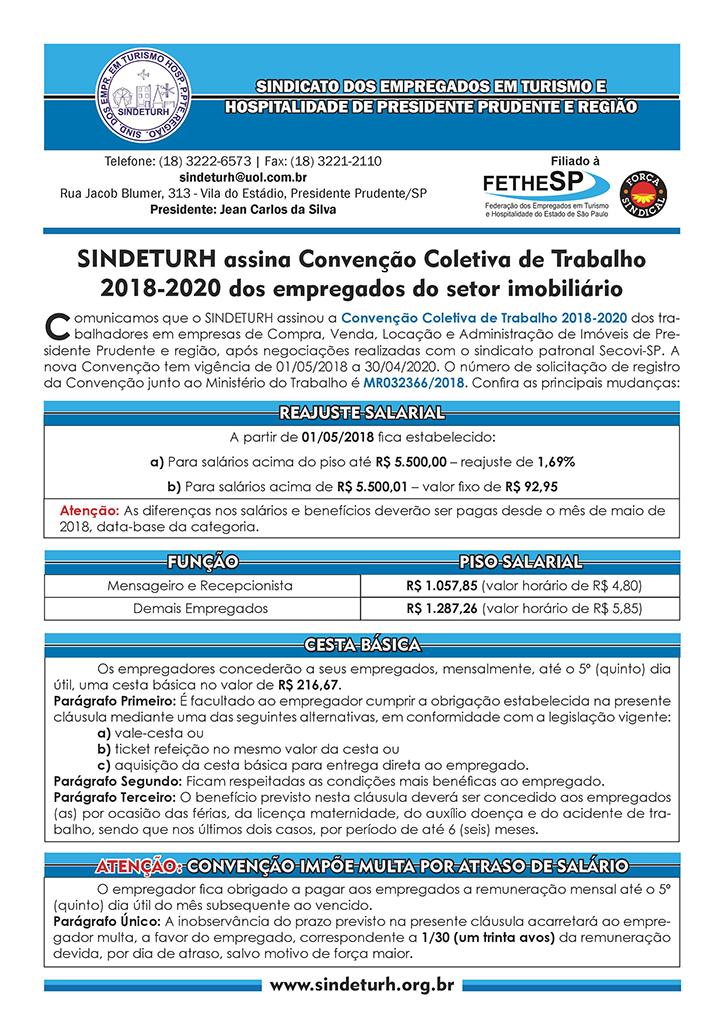 Sindeturh Prudente - Convenção Coletiva 2018 - Empregados em Compra, Venda, Locação e Administração de Imóveis