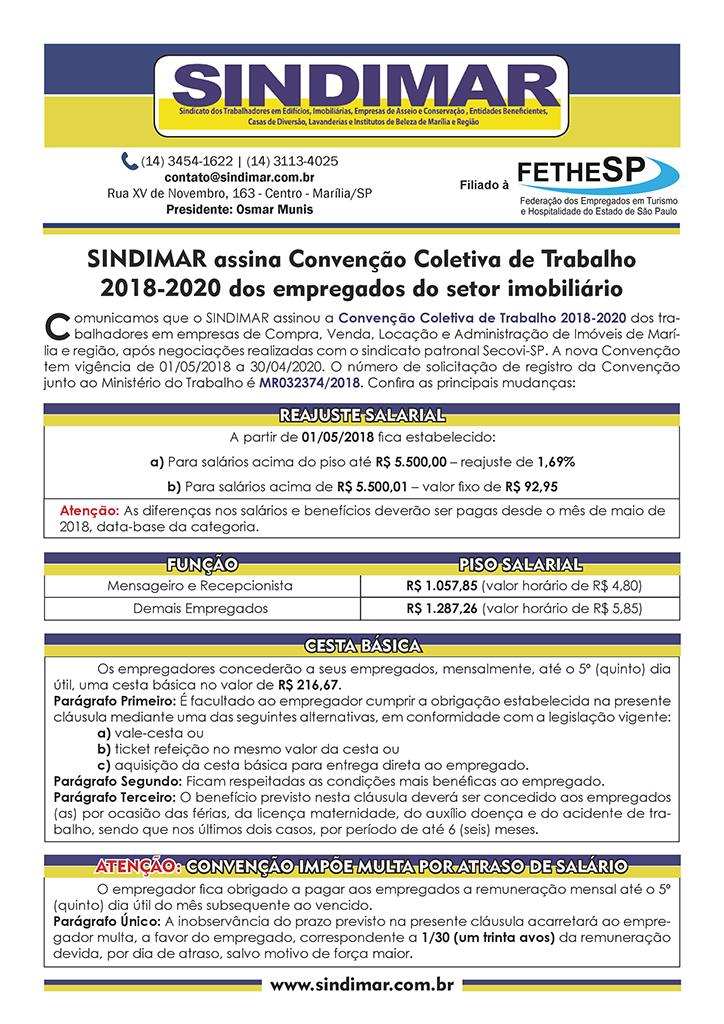 SINDIMAR - Convenção Coletiva 2018 - Empregados em Compra, Venda, Locação e Administração de Imóveis
