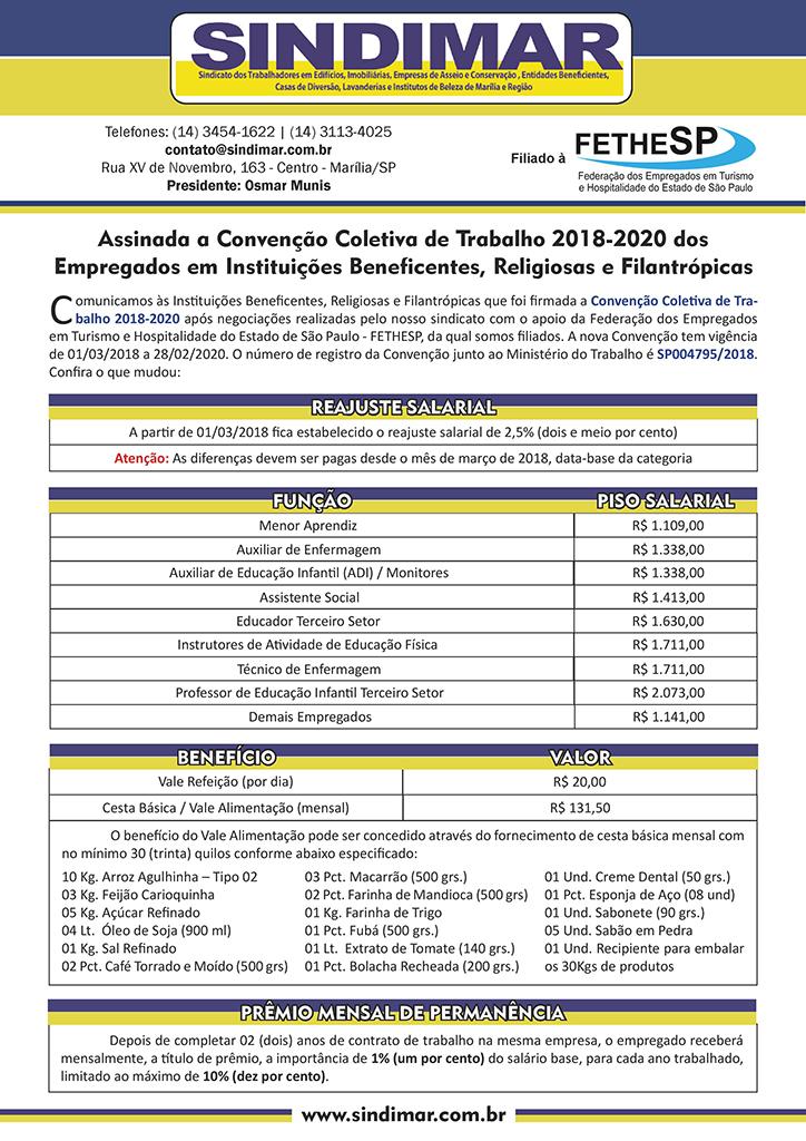 Sindimar Marília - Convenção Coletiva 2018 - Empregados em Instituições Beneficentes, Religiosas e Filantrópicas