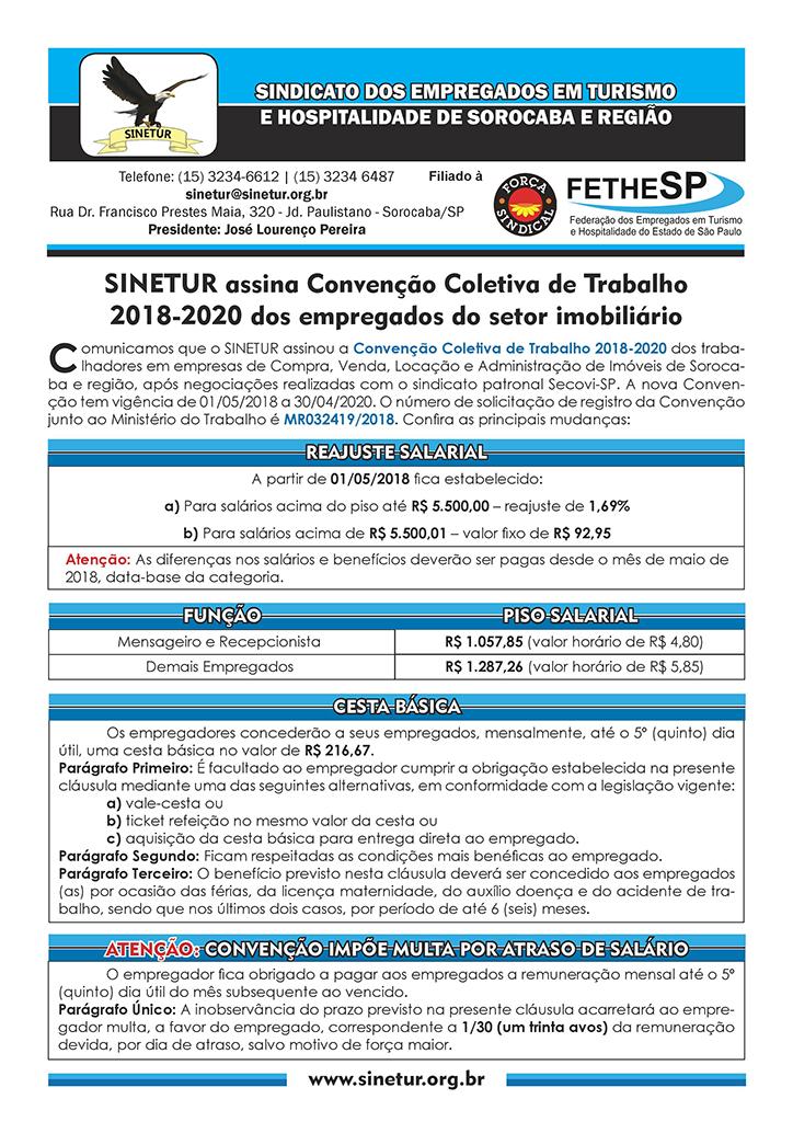 Sinetur - Convenção Coletiva 2018 - Empregados em Compra, Venda, Locação e Administração de Imóveis