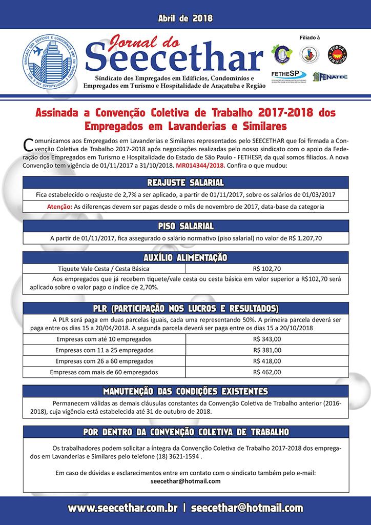 SEECETHAR Araçatuba - Convenção Coletiva 2017 - Empregados em Lavanderias e Similares