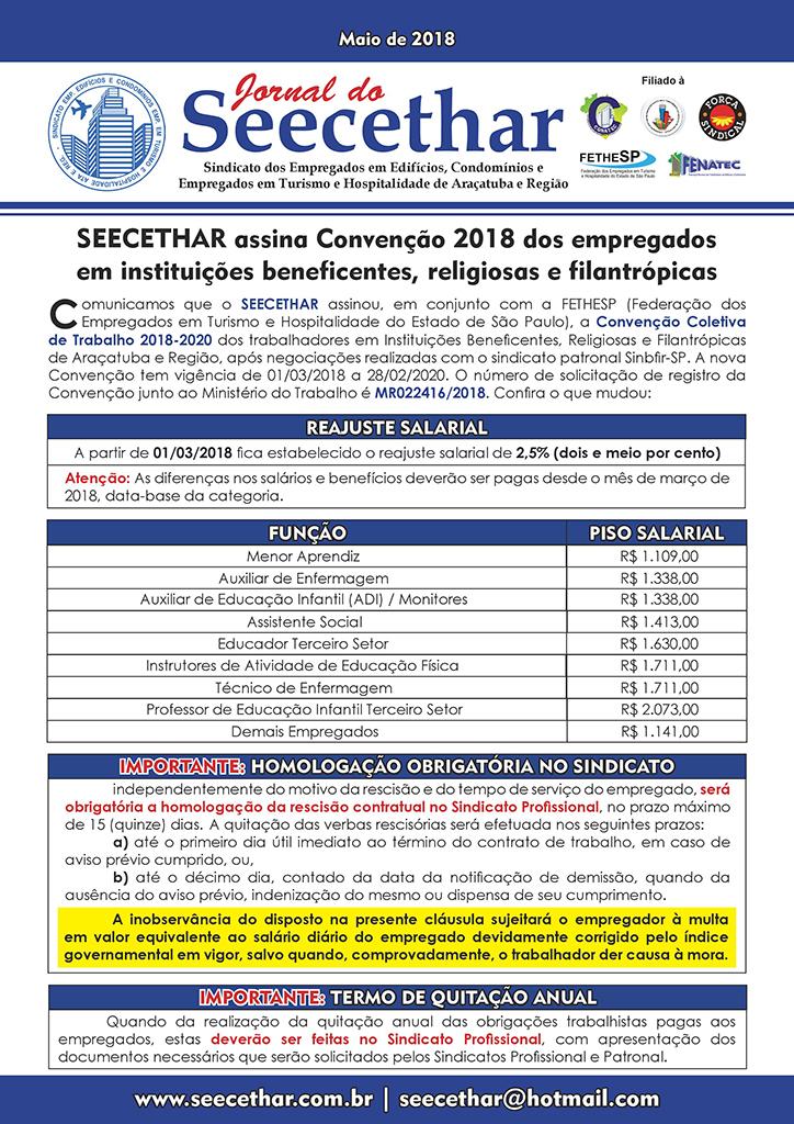 Seecethar Araçatuba - Convenção Coletiva 2018 - Empregados em Instituições Beneficentes, Religiosas e Filantrópicas