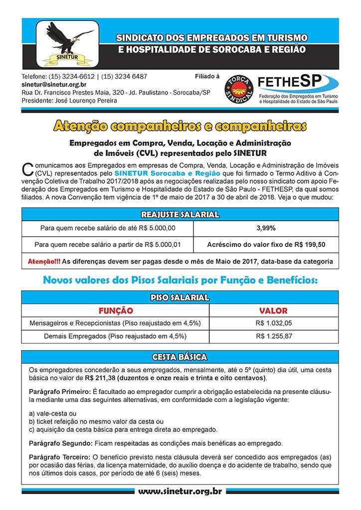 SINETUR Sorocaba - Convenção Coletiva 2017 - Compra, Venda, Locação e Administração de Imóveis