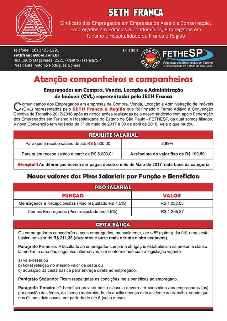 SETH Franca - Convenção Coletiva 2017 - Compra, Venda, Locação e Administração de Imóveis