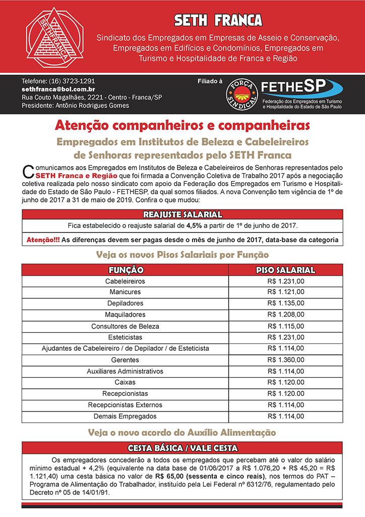 SETH Franca - Convenção Coletiva 2017 - Institutos de Beleza