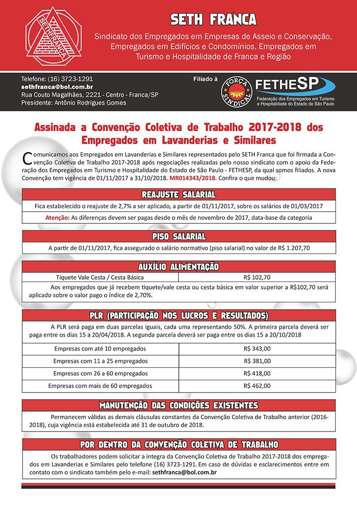 SETH Franca - Convenção Coletiva 2017 - Empregados em Lavanderias e Similares