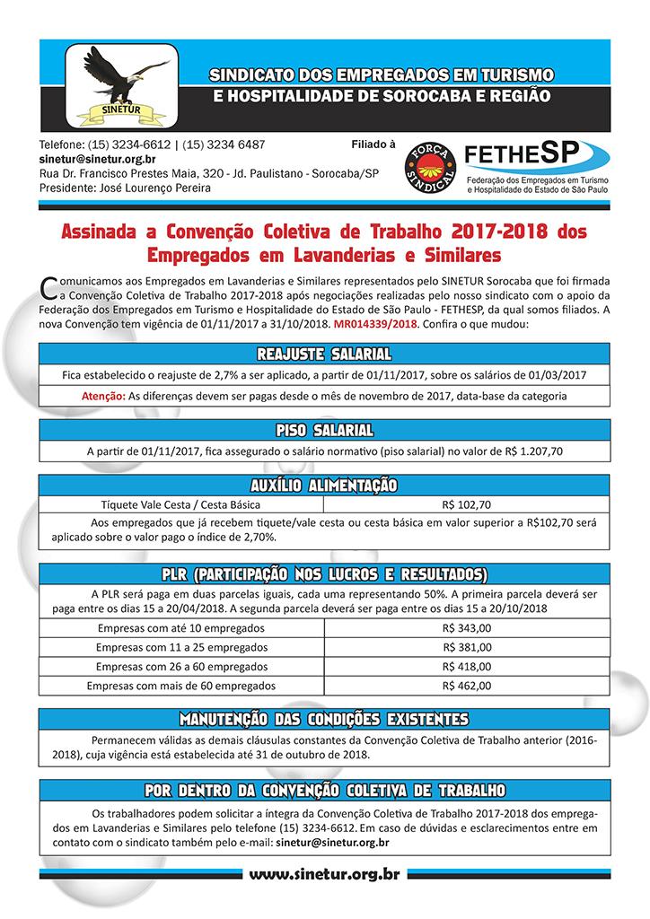 Sinetur Sorocaba - Convenção Coletiva 2017 - Empregados em Lavanderias e Similares