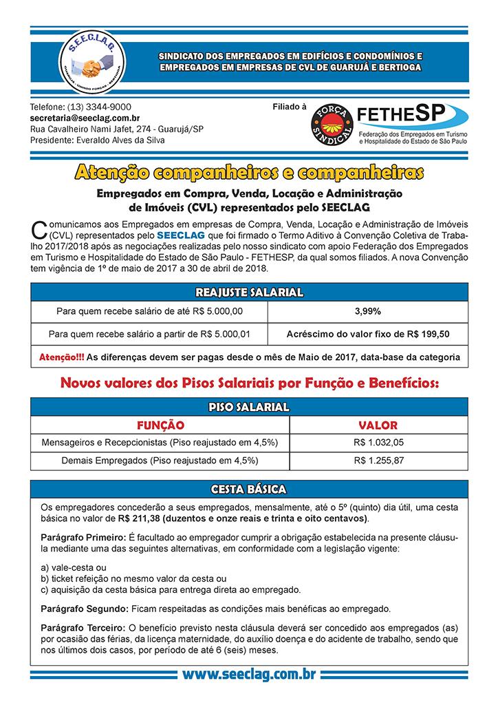 SEECLAG - Convenção Coletiva 2017 - Compra, Venda, Locação e Administração de Imóveis