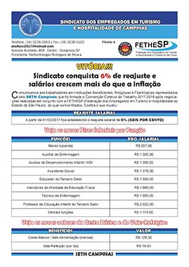 SETH Campinas - Convenção Coletiva 2017 - Instituições Beneficentes