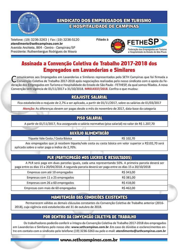 SETH Campinas - Convenção Coletiva 2017 - Empregados em Lavanderias e Similares