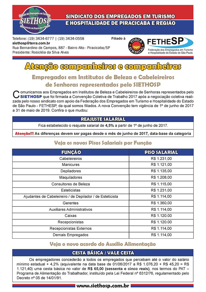 SIETHOSP Piracicaba - Convenção Coletiva 2017 - Institutos de Beleza
