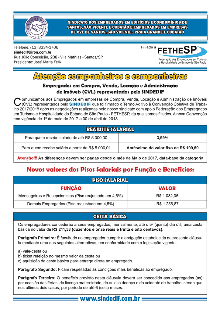 SINDEDIF - Convenção Coletiva 2017 - Compra, Venda, Locação e Administração de Imóveis
