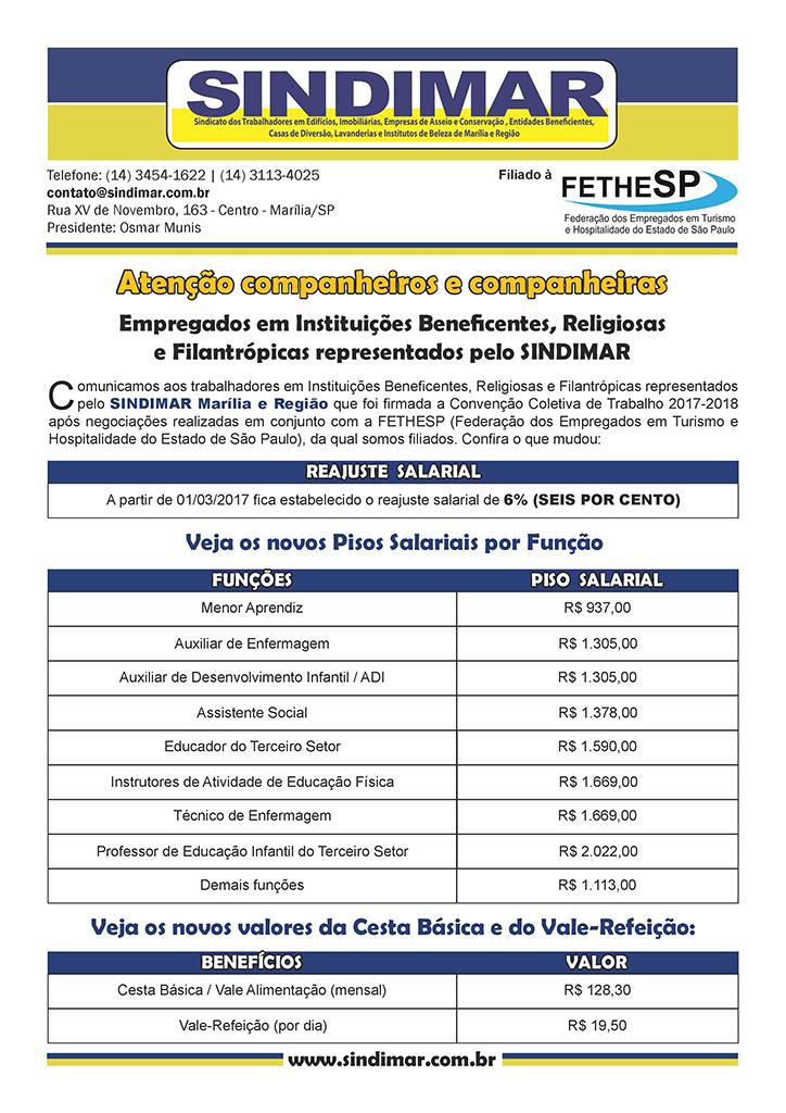 SINDIMAR Marília - Convenção Coletiva 2017 - Instituições Beneficentes