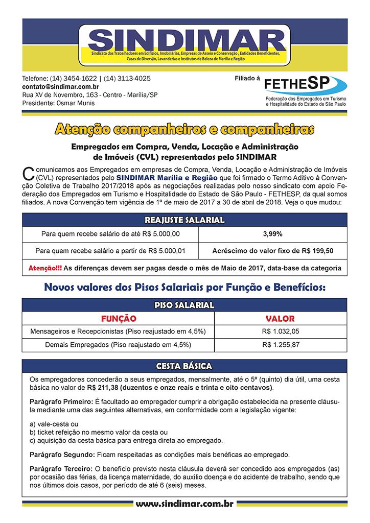 SINDIMAR Marília - Convenção Coletiva 2017 - Compra, Venda, Locação e Administração de Imóveis