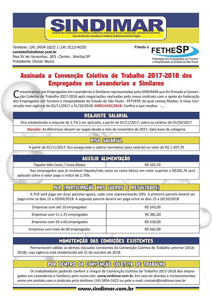 Sindimar Marília - Convenção Coletiva 2017 - Empregados em Lavanderias e Similares