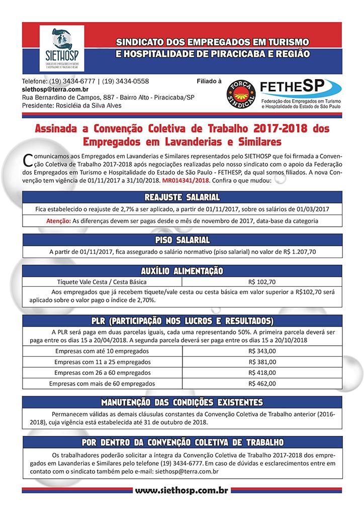 Siethosp Piracicaba - Convenção Coletiva 2017 - Empregados em Lavanderias e Similares