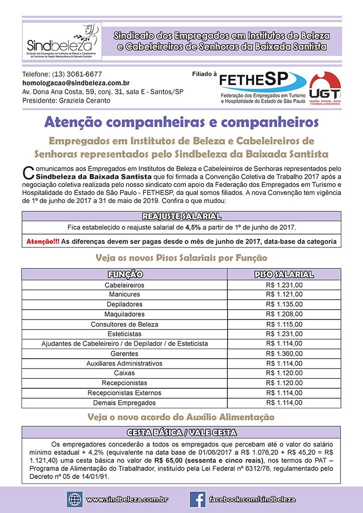 SINDBELEZA da Baixada Santista - Convenção Coletiva 2017 - Institutos de Beleza