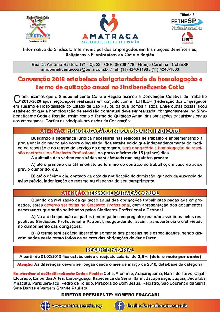 Sindbeneficente Cotia - Convenção Coletiva 2018