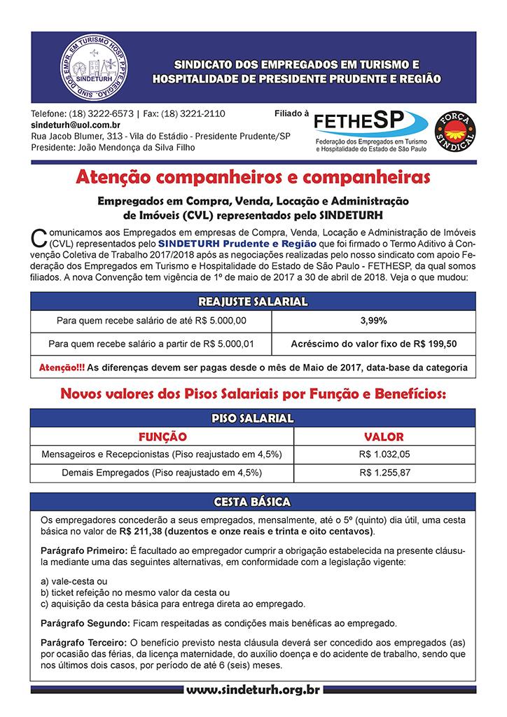 SINDETURH Prudente - Convenção Coletiva 2017 - Compra, Venda, Locação e Administração de Imóveis