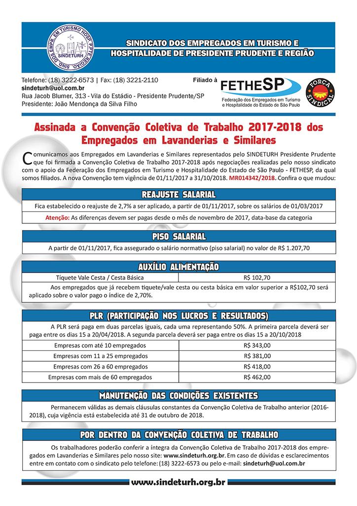 Sindeturh Presidente Prudente - Convenção Coletiva 2017 - Empregados em Lavanderias e Similares
