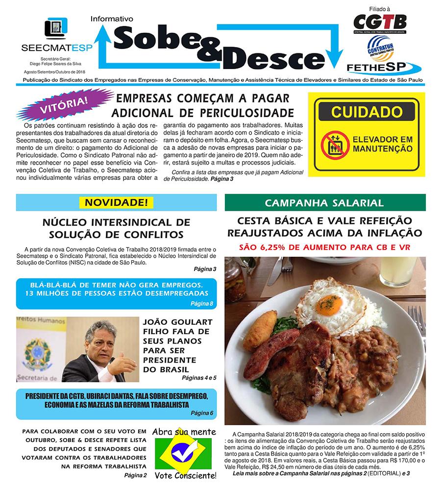 SEECMATESP - Informativo Sobe e Desce - Agosto de 2018
