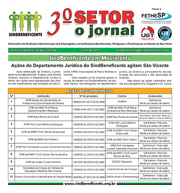 Jornal 3º Setor - SindBeneficente - Julho de 2017