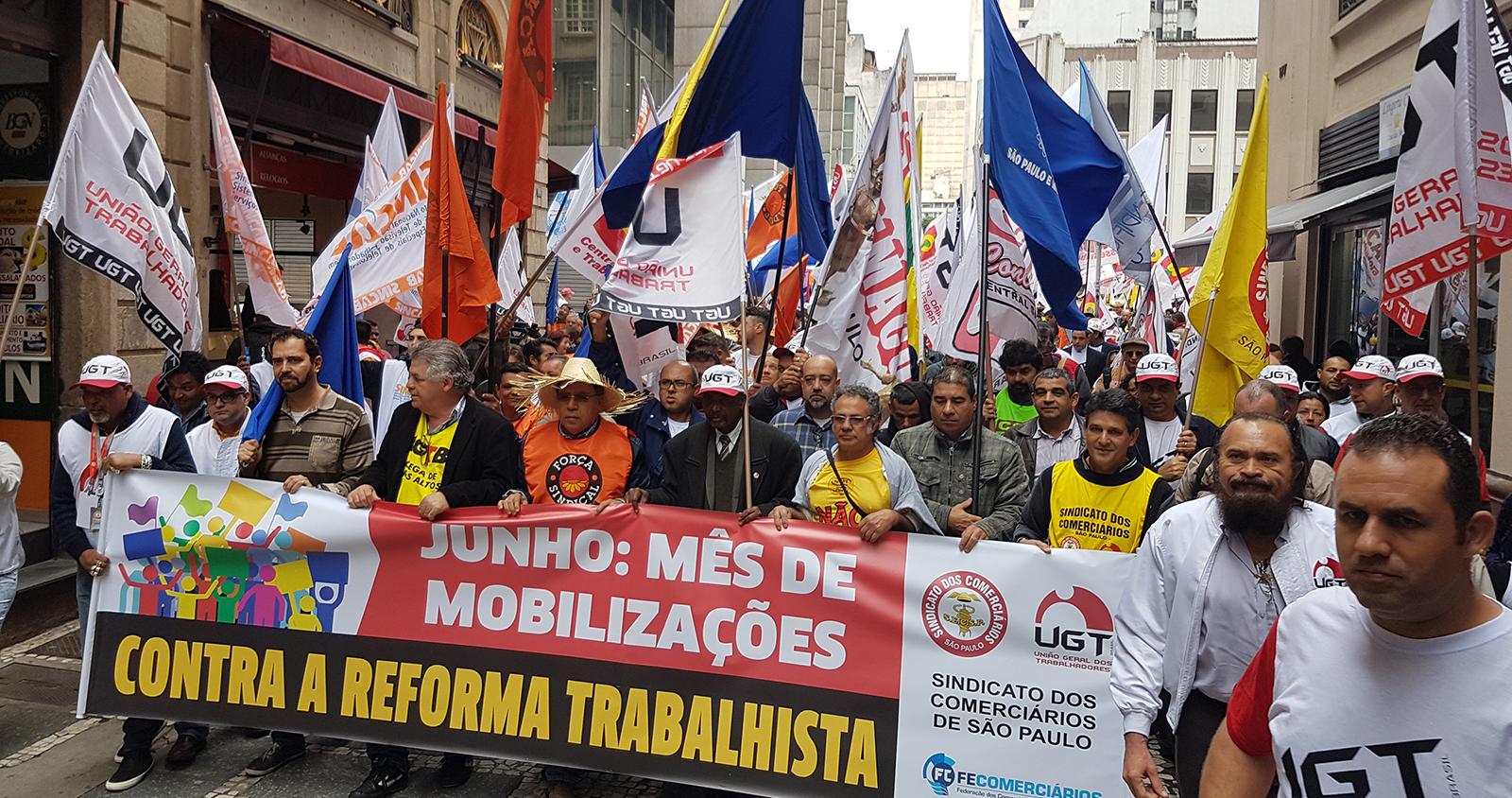 Manifestação contra as reformas trabalhista e previdenciária do dia 20/06/2017 no centro de SP